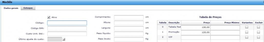Tabela de preço definida no cadastro do produto no ERPFlex